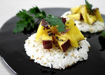 【レシピコンテスト銀賞】胡麻塩さつま芋のごはんカナッペ