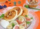 塩レモンのスフレパンケーキ、メープルナッツソース