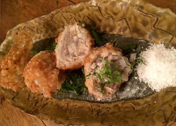 つぶ塩で まぐろの生姜チョイ揚げ